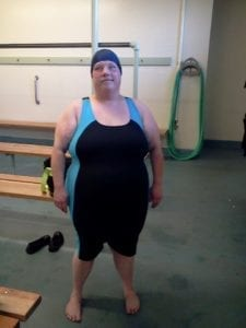 Angela in swimsuit