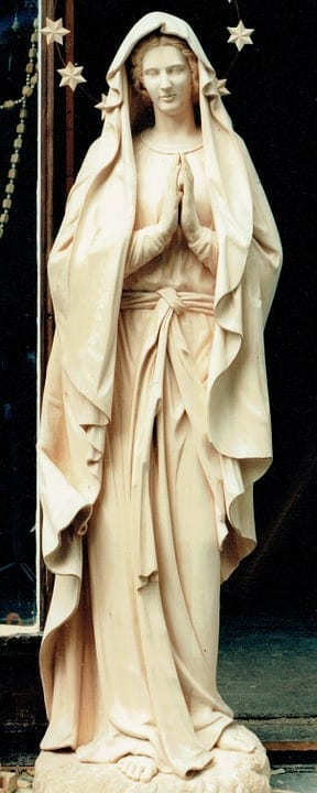 statue of mary with halo