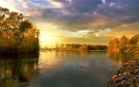 river with autumn sunset