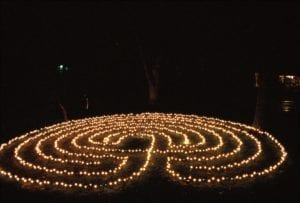 labyrinth at night